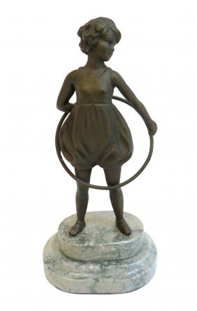 Art Deco Bronze Hula Hoop Girl On Marble