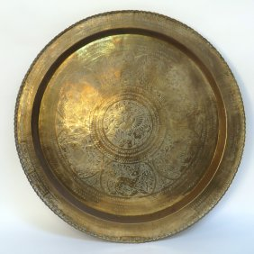 Large Brass Tray For Hanging Or Table Top