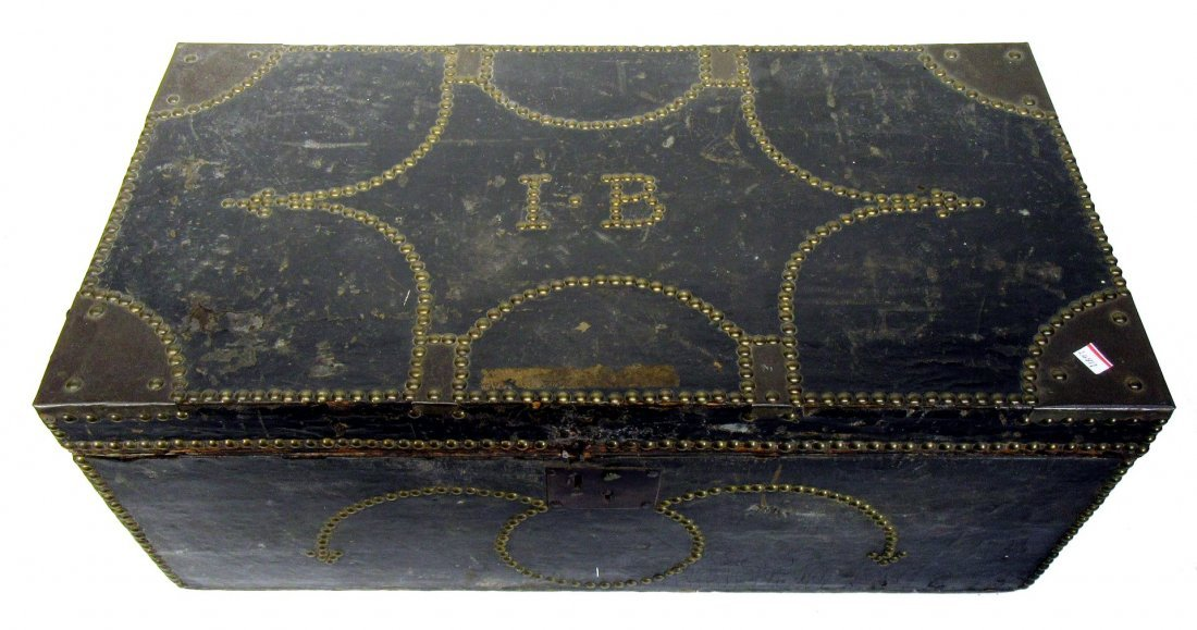 Leather Bound Rivet Decorated Dower Chest