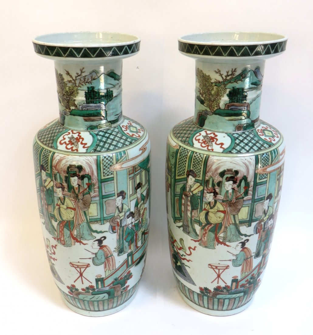 Pair Of Famille Verte Palace Vases
