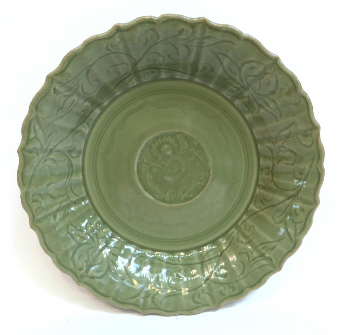 "Ming ""Peony"" Longquan Celadon Charger"