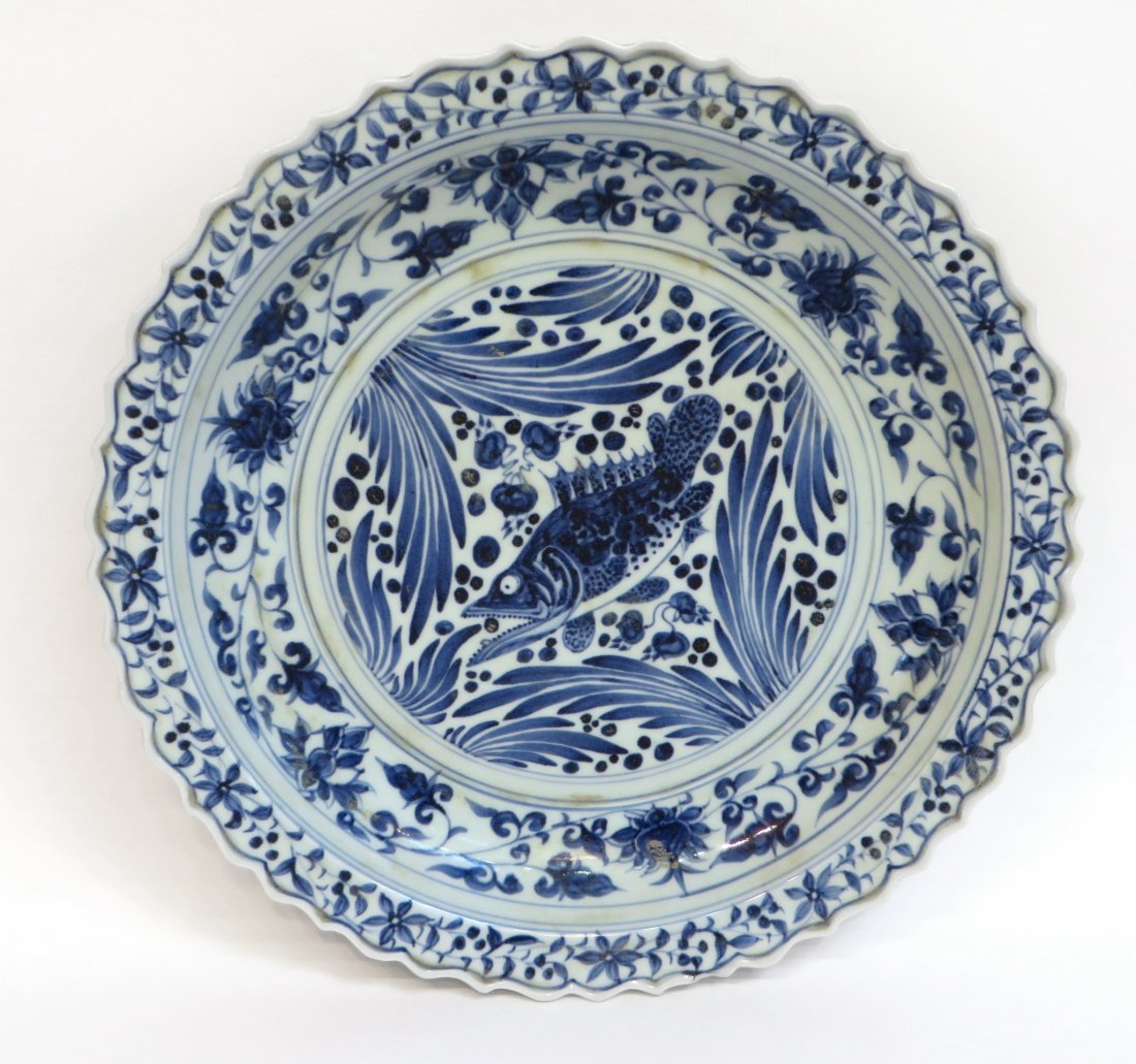 Blue & White Ming Dynasty Ceramic Charger