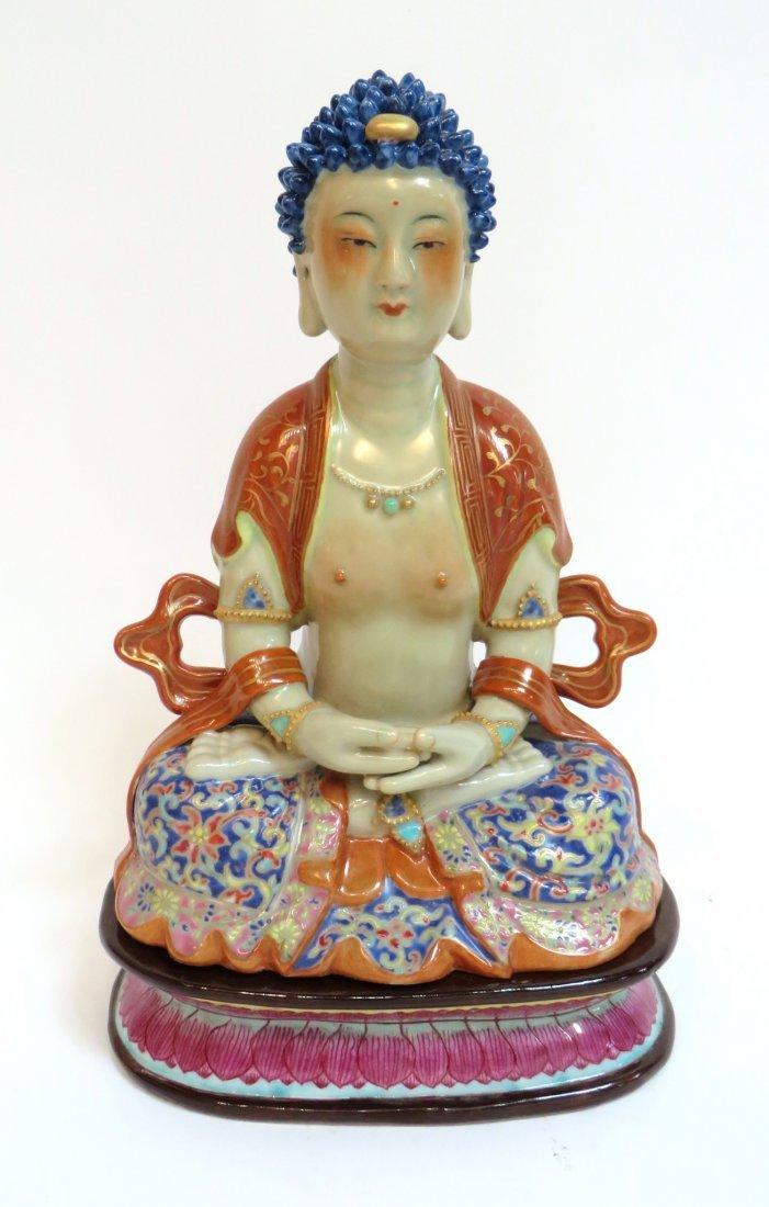 Qian Long Seated Meditation Buddha In Porcelain