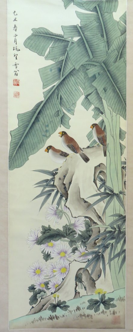 Songbirds With Flowers Scroll