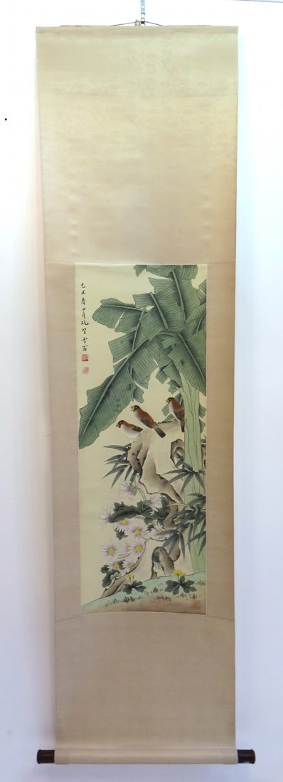 Songbirds With Flowers Scroll - 3