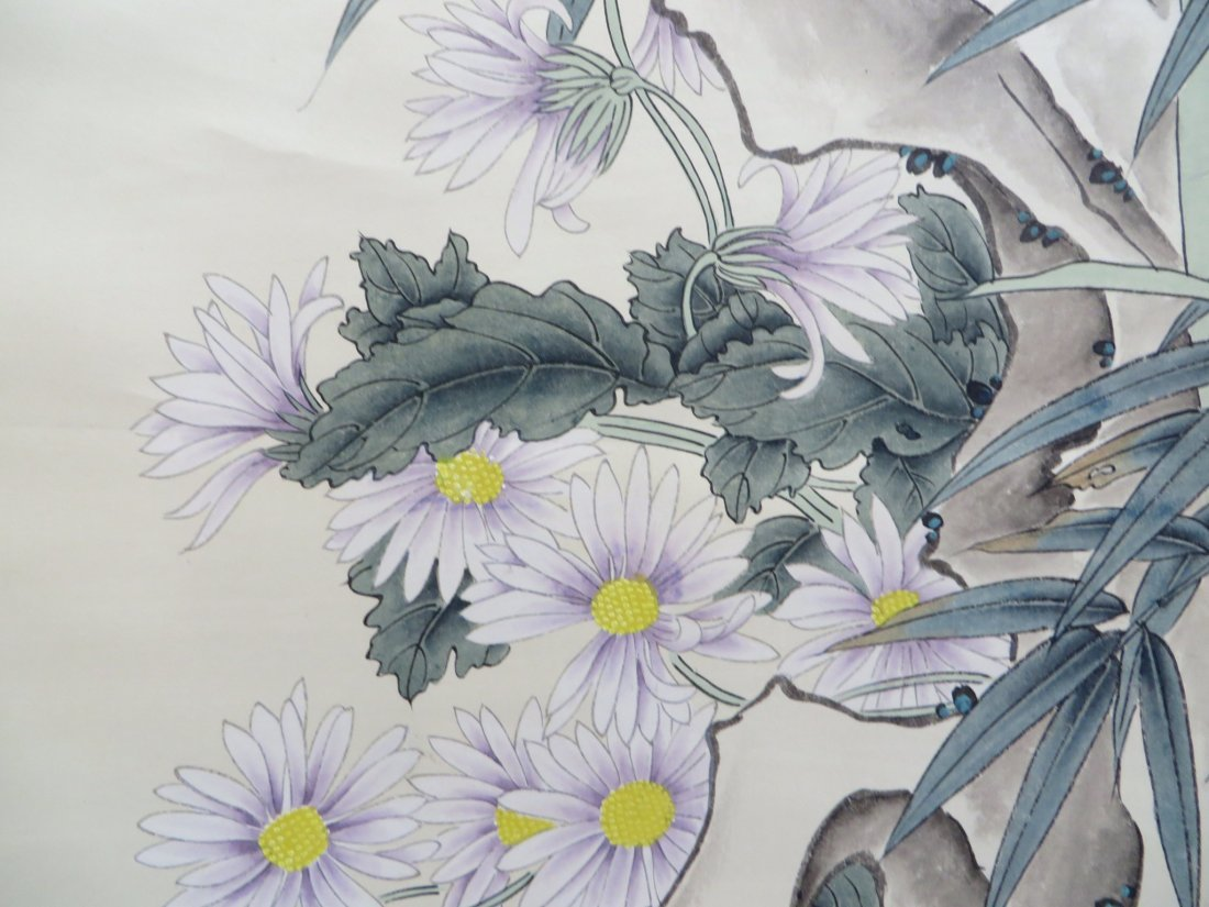 Songbirds With Flowers Scroll - 6