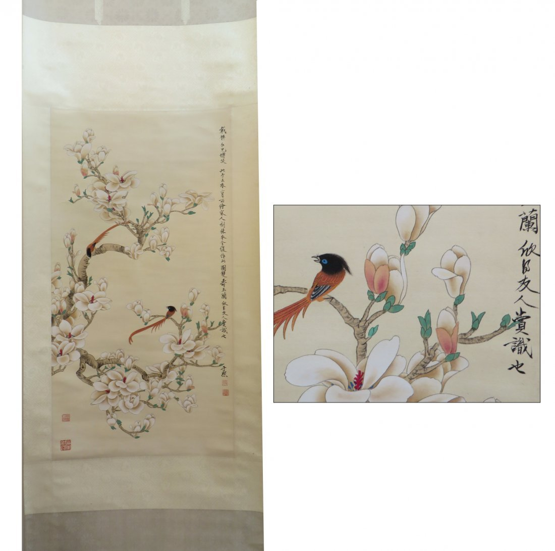 Chinese Scroll Of Red Birds In Flowering Branches