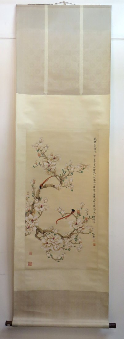 Chinese Scroll Of Red Birds In Flowering Branches - 2