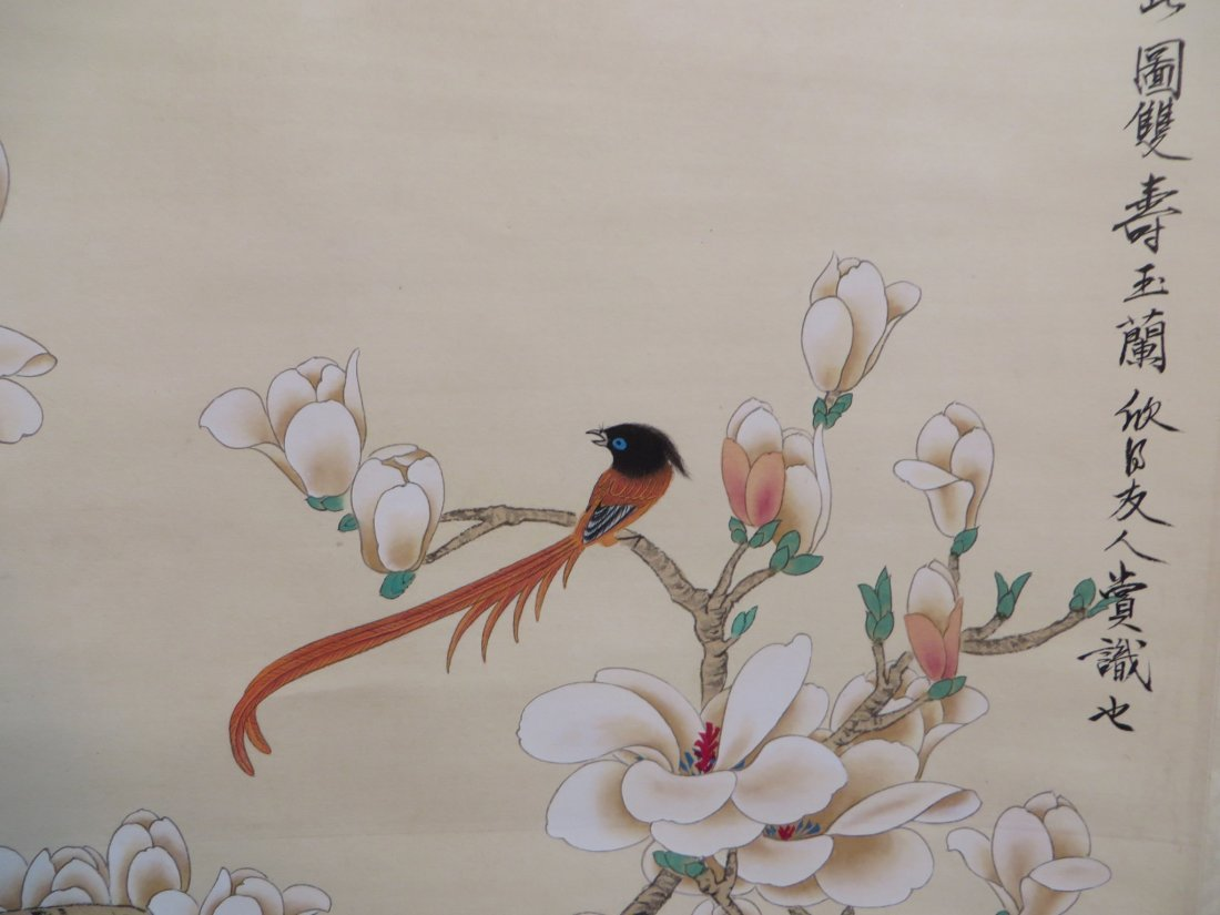 Chinese Scroll Of Red Birds In Flowering Branches - 3