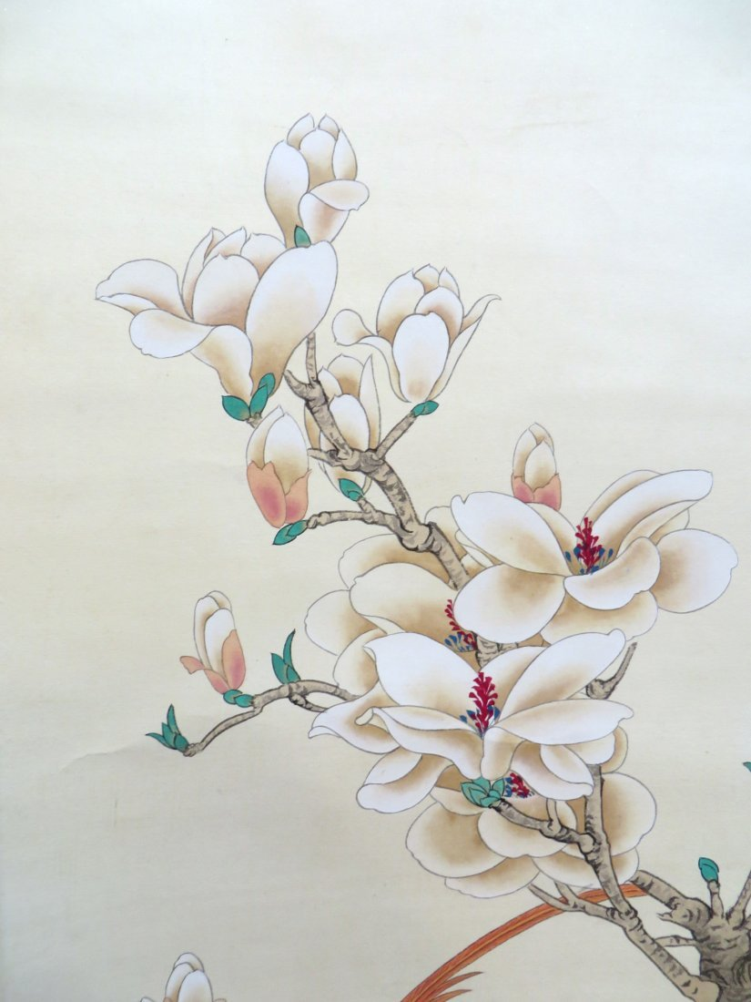 Chinese Scroll Of Red Birds In Flowering Branches - 5