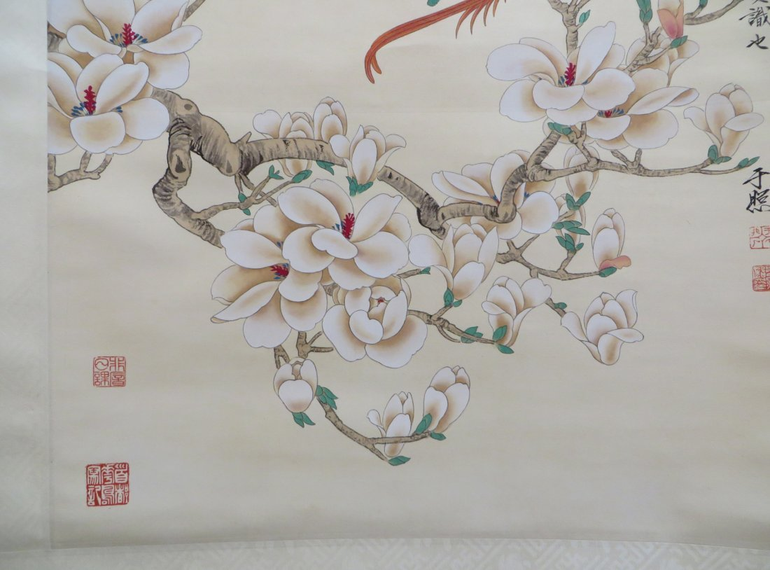 Chinese Scroll Of Red Birds In Flowering Branches - 9