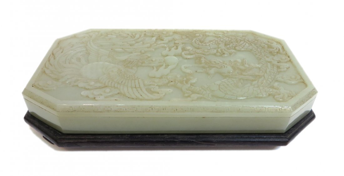 Carved White Jade Ink Box