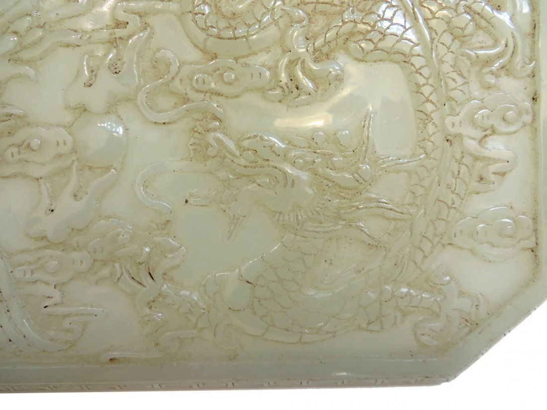 Carved White Jade Ink Box - 3