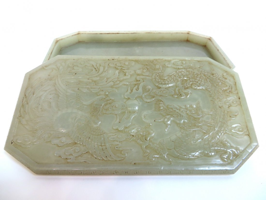 Carved White Jade Ink Box - 8