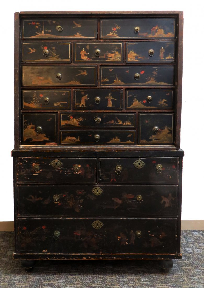 Chinoiserie Chest On Chest, 19th C.