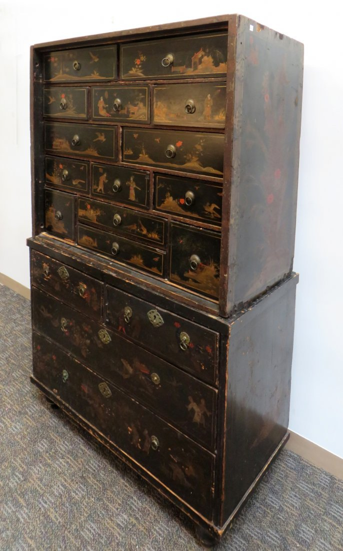 Chinoiserie Chest On Chest, 19th C. - 2