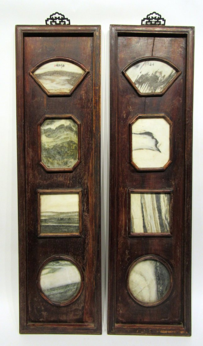 Pair Of Chinese Panels With Inset Scholar Stones