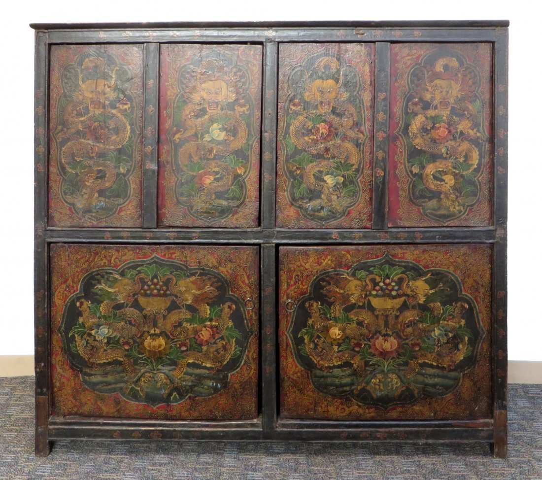 Tibetan Dragon Painted Cabinet