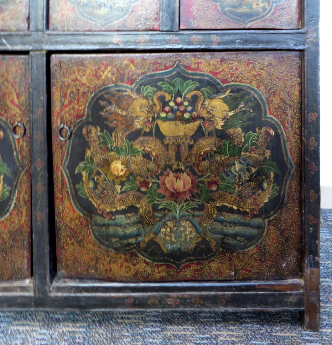 Tibetan Dragon Painted Cabinet - 2
