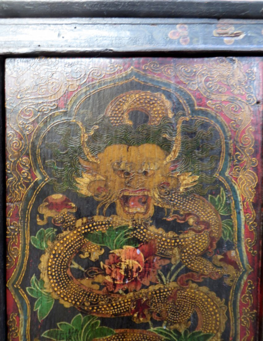 Tibetan Dragon Painted Cabinet - 3