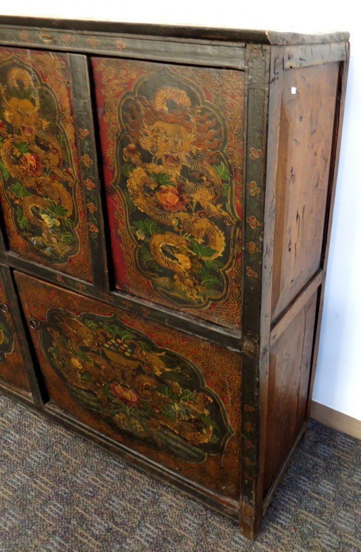 Tibetan Dragon Painted Cabinet - 6