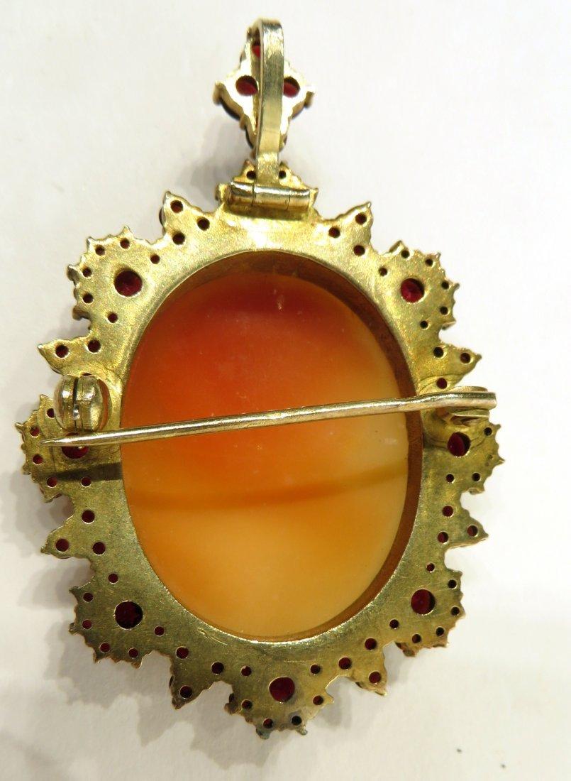 Pin/Pendant Cameo With Garnets Ca. 1900 - 2