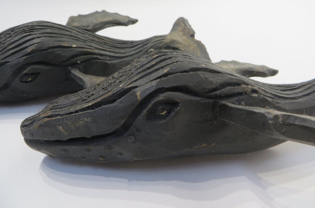 Pair Of Carved Wood Humpback Whales - 2