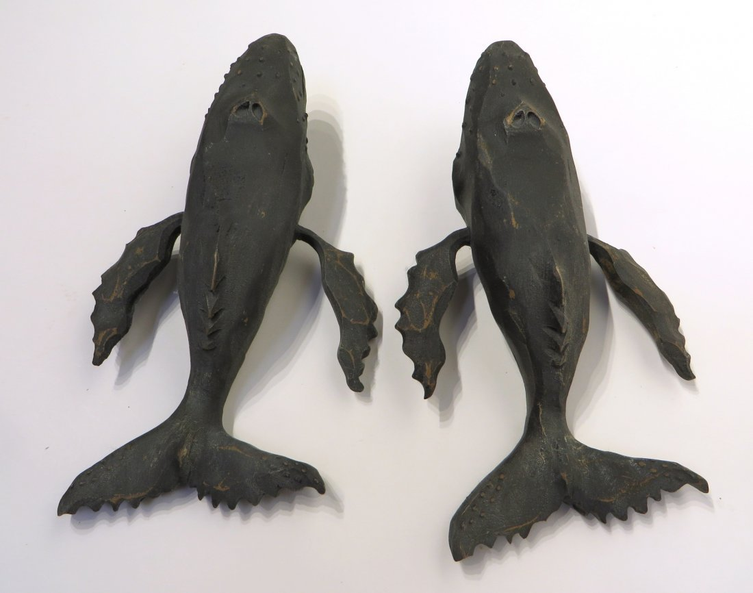 Pair Of Carved Wood Humpback Whales - 5