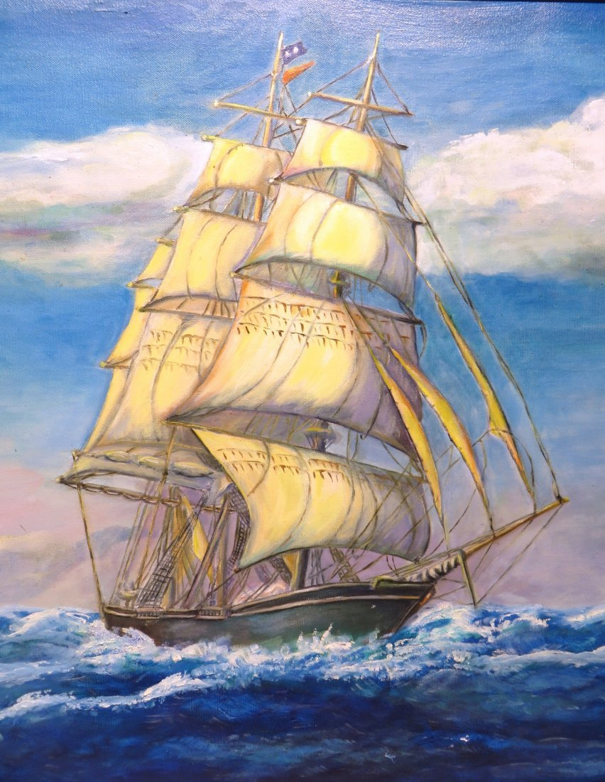 Square Rigged Sailing Ship By  Elvan Habicht 1974 - 3
