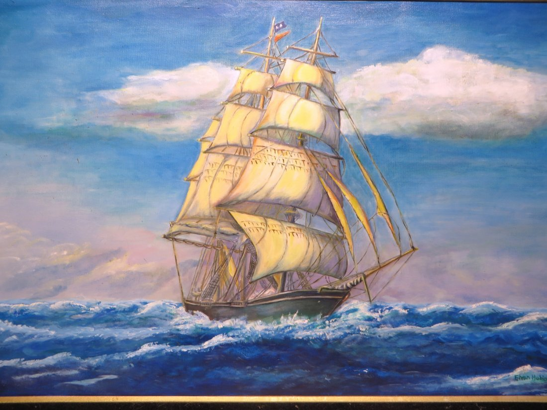 Square Rigged Sailing Ship By  Elvan Habicht 1974 - 4