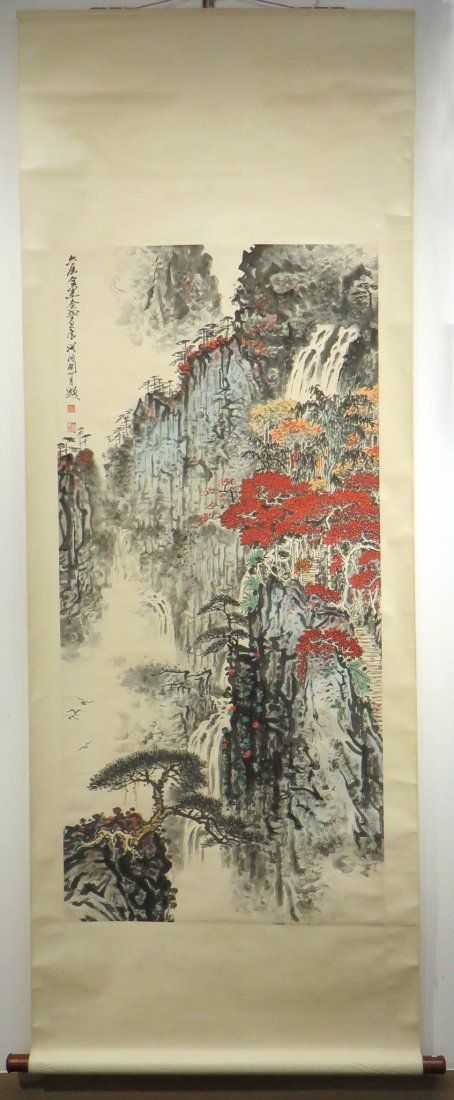 Chinese Watercolor Scroll Of A Mountain Landscape - 2