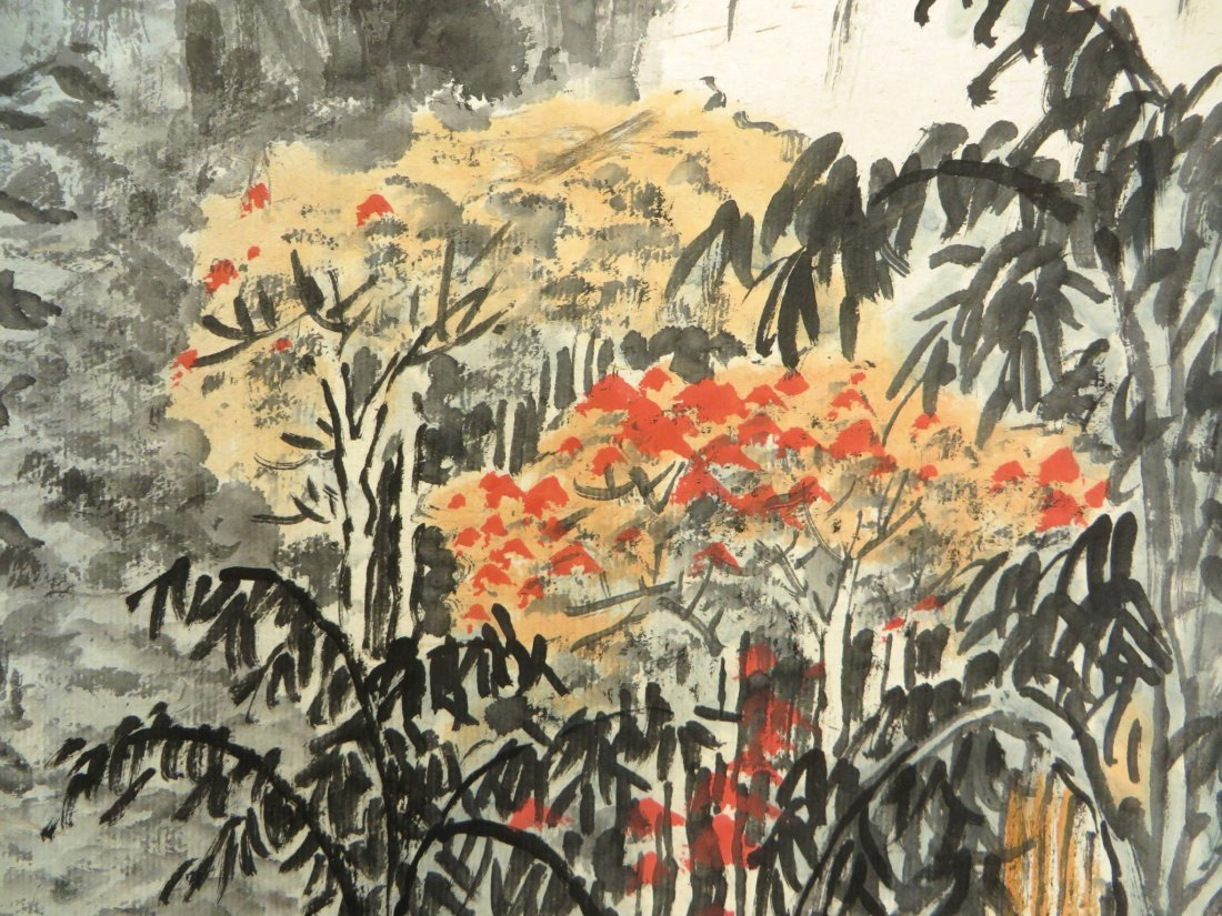 Chinese Watercolor Scroll Of A Mountain Landscape - 3