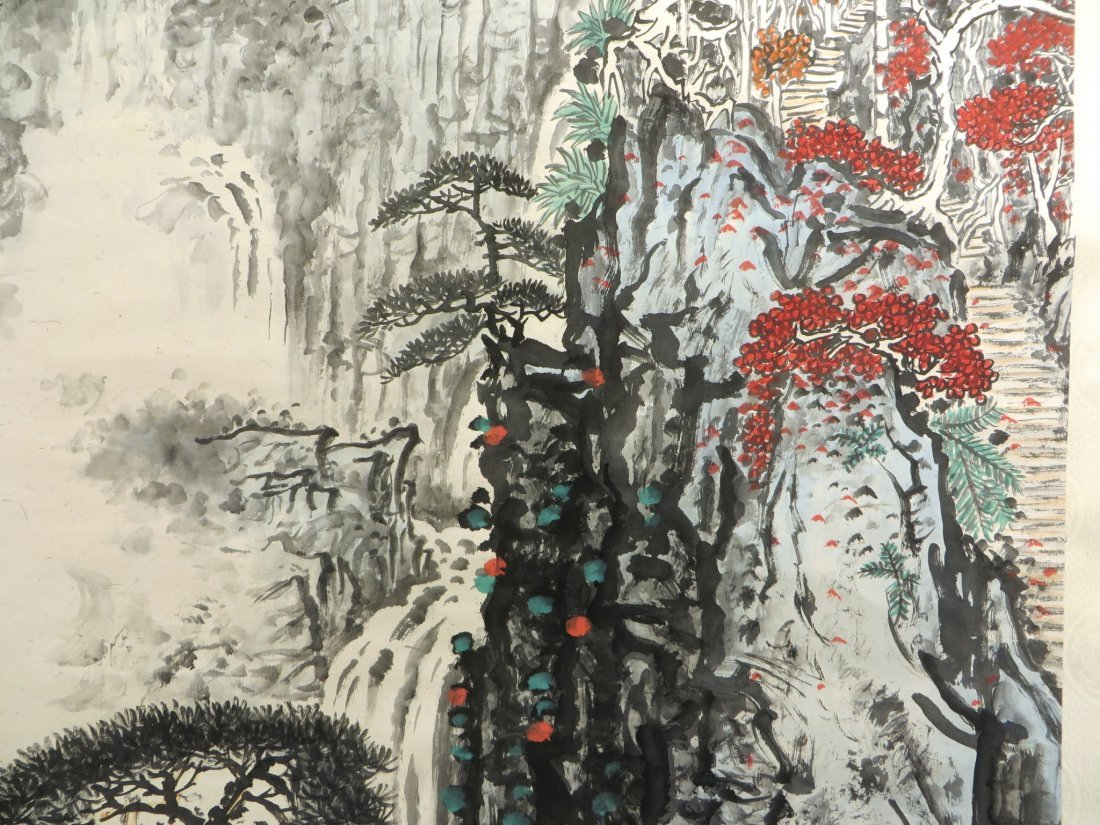 Chinese Watercolor Scroll Of A Mountain Landscape - 4