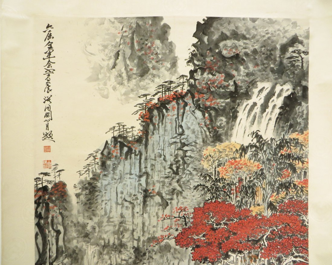 Chinese Watercolor Scroll Of A Mountain Landscape - 5