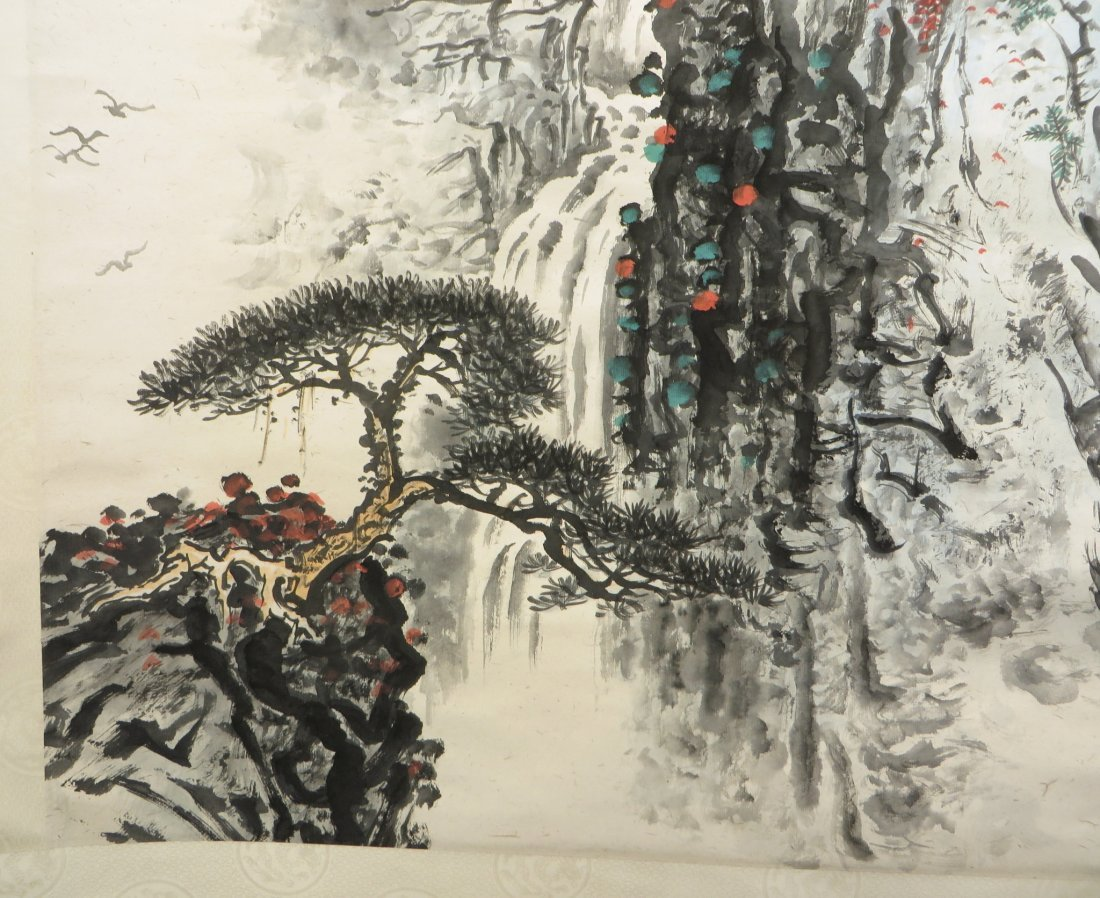 Chinese Watercolor Scroll Of A Mountain Landscape - 7