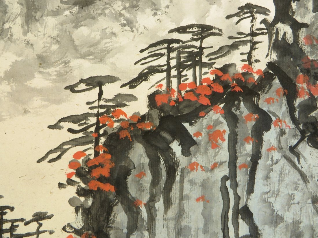 Chinese Watercolor Scroll Of A Mountain Landscape - 9