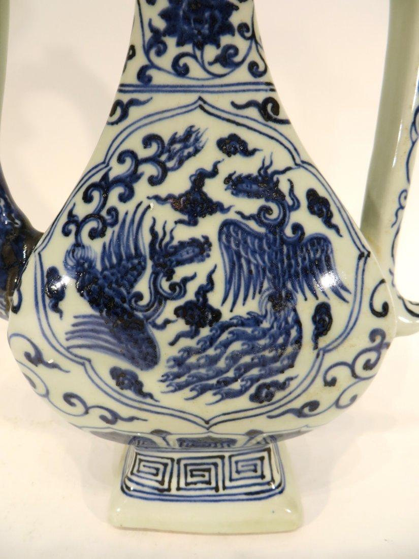 Blue And White Phoenix Ewer - 3