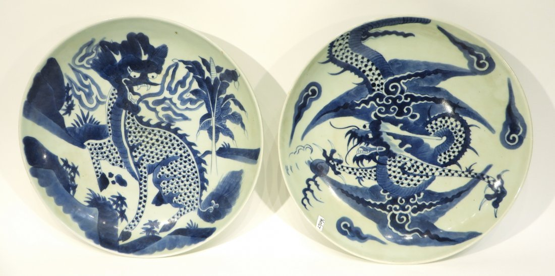 Pair Blue & White Dragon Designed Chargers