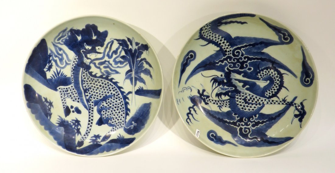 Pair Blue & White Dragon Designed Chargers - 2