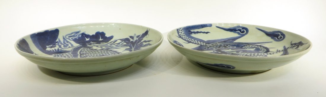 Pair Blue & White Dragon Designed Chargers - 3