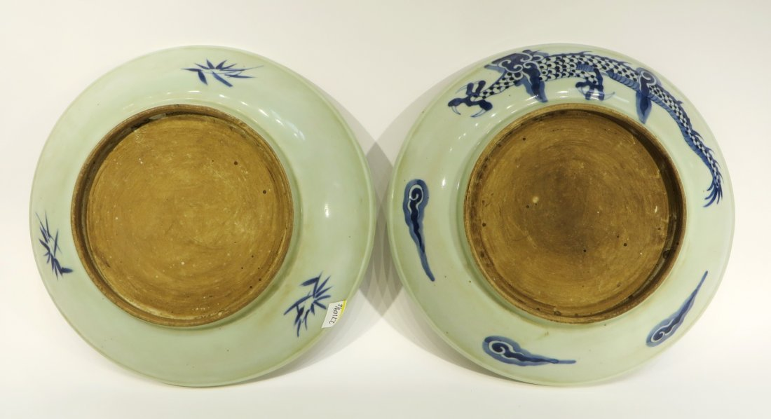 Pair Blue & White Dragon Designed Chargers - 4