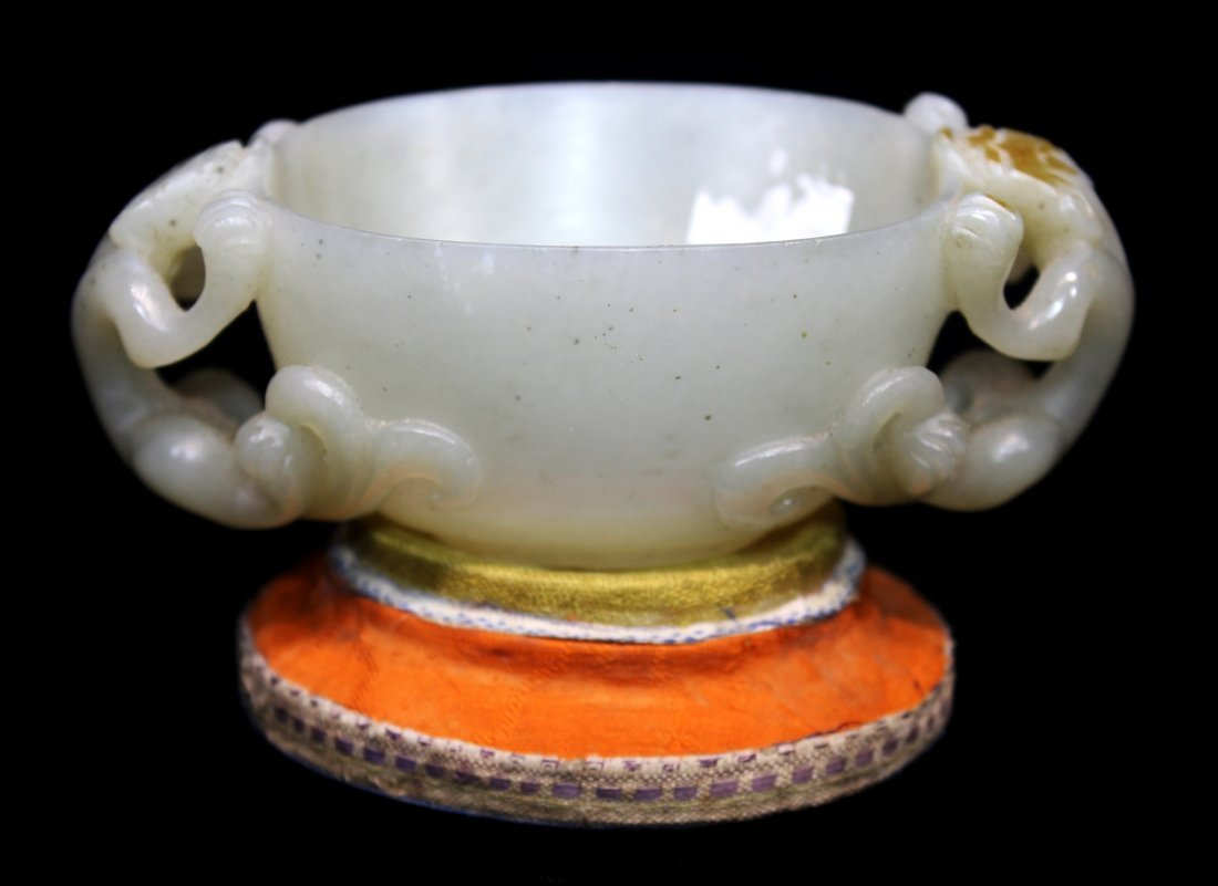 CHINESE JADE CUP ON STAND