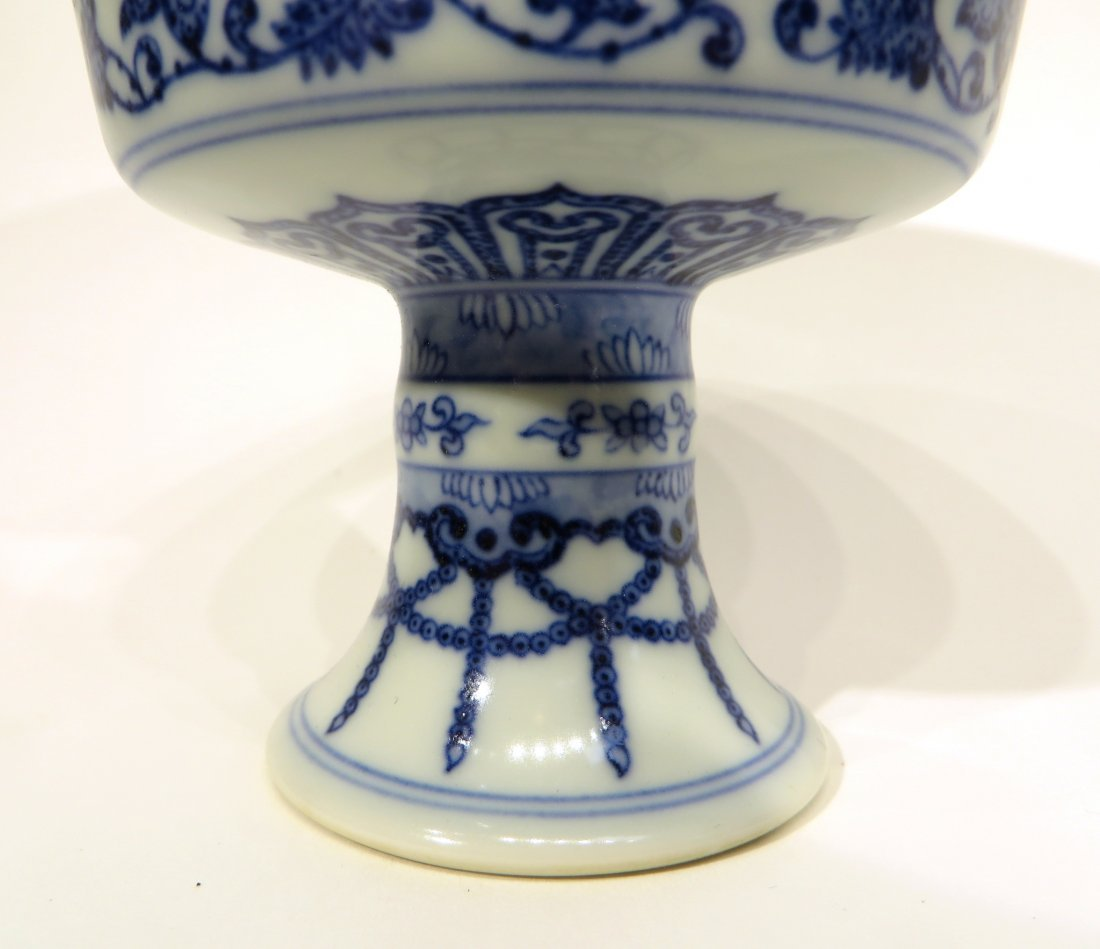 CHINESE QIAN LONG HIGH STEM BLUE AND WHITE BOWL - 3