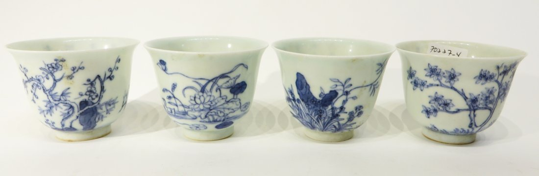 FOUR KANG XI BLUE AND WHITE TEA CUPS