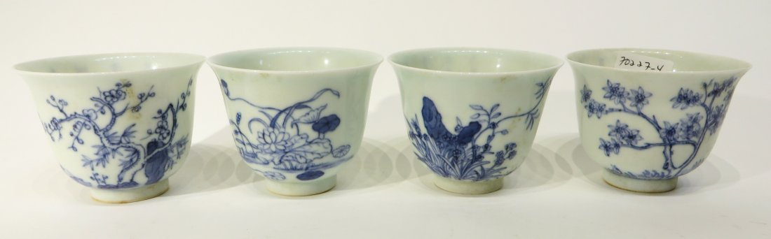 FOUR KANG XI BLUE AND WHITE TEA CUPS - 2