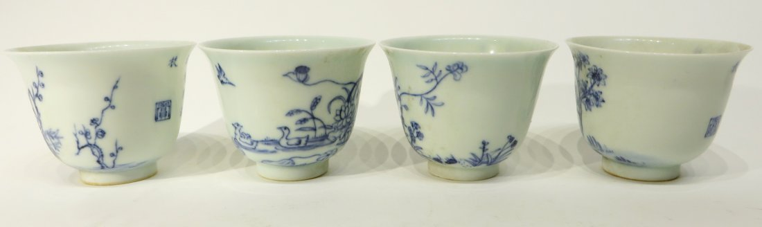 FOUR KANG XI BLUE AND WHITE TEA CUPS - 4