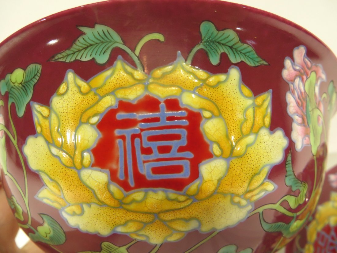 PAIR OF CHINESE KANG XI ENAMEL BOWLS - 4