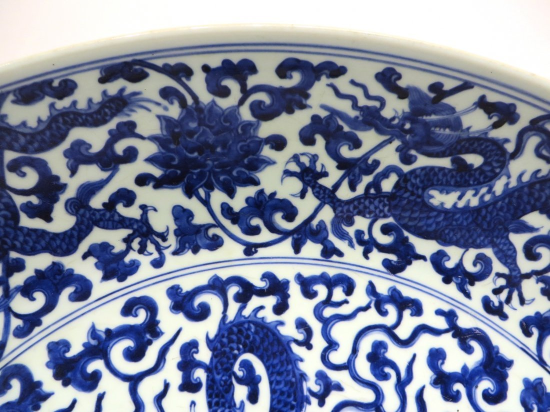 MING DYNASTY LARGE BLUE AND WHITE PLATE - 5
