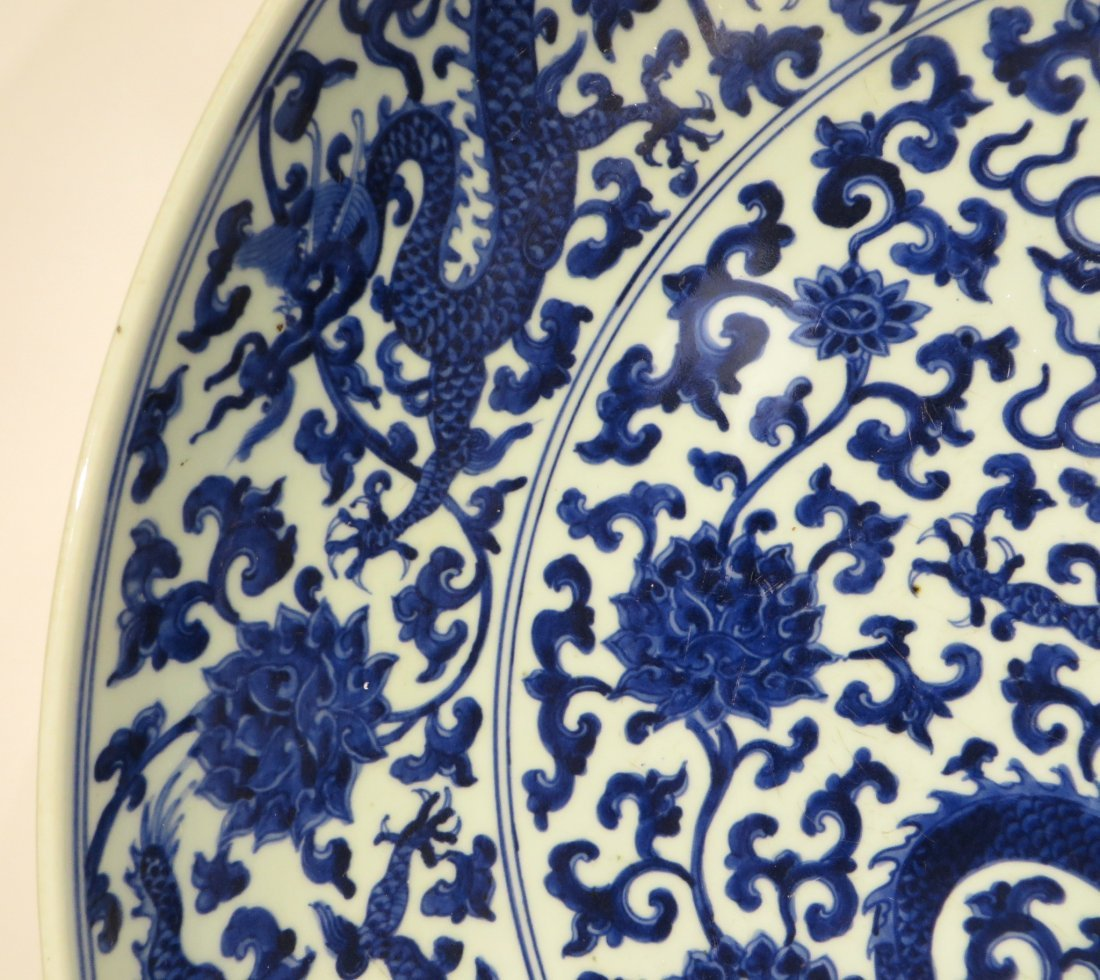 MING DYNASTY LARGE BLUE AND WHITE PLATE - 6