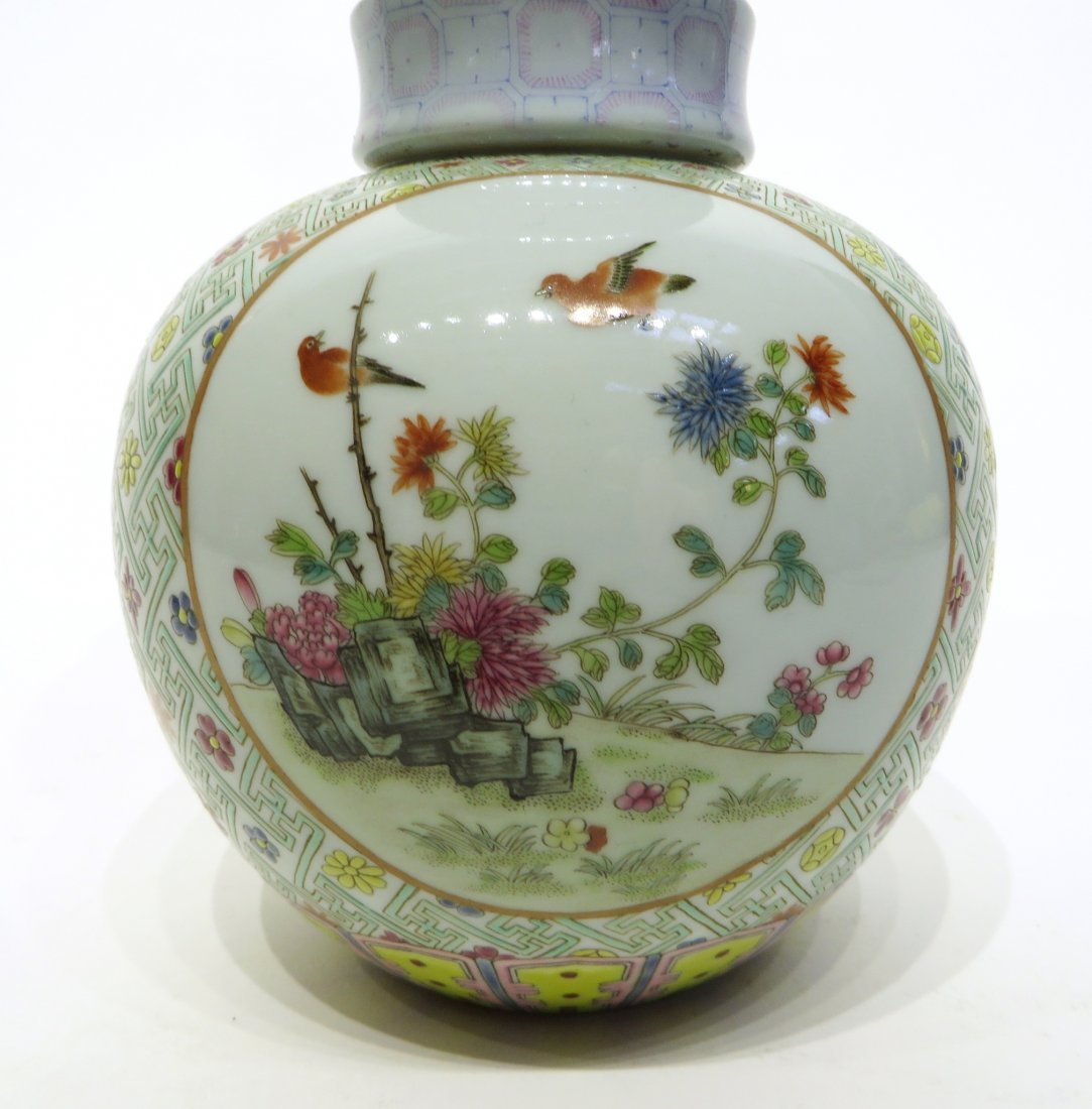 CHINESE FAMILLE ROSE DOUBLE GOURD VASE - 3